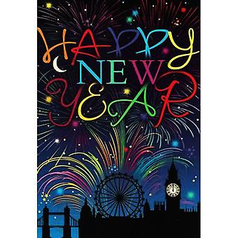 Simon Elvin London Fireworks New Year Wishes Cards (Pack of 6)