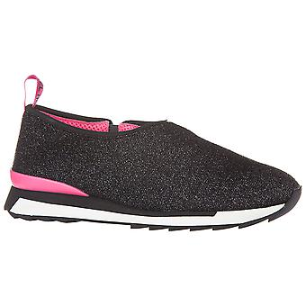 Hogan Women's slip-on laceless fashion sneakers shoes in black glitter fabric
