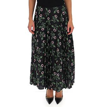 Valentino Sb0ra5584w5k92 Women's Black Silk Skirt