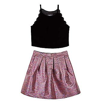 Amy Byer Girls' Scalloped Top and Party Skirt Set, Fuchsia/Teal & Gold Woven ...