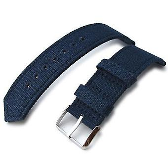 Strapcode fabric watch strap 20mm, 21mm or 22mm miltat ww2 2-piece navy washed canvas watch band with lockstitch round hole, polished