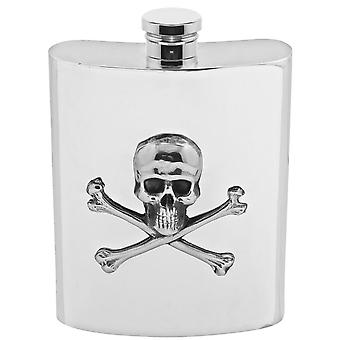 Poison Scull & Crossbones Pewter Hip Flask - 6oz