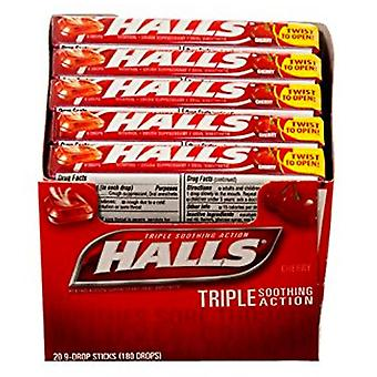 Halls cough drop lozenges, cherry, 9 x 20 ea