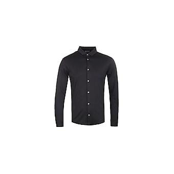 Emporio Armani 8n1ch6 Cotton Buttoned Down Black Long Sleeve Polo Shirt