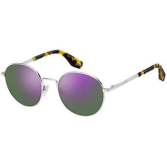 round silver/violet men's sunglasses