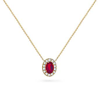 Necklace Princess on Precious Stone 18K Gold and Diamonds - Yellow Gold, Ruby