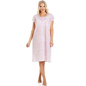 Camille Pink Floral White Korte Mouw Nightdress