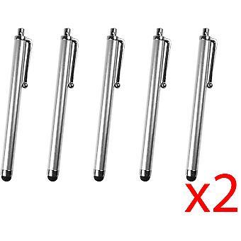 10x الفضة كاباكسيتيفي ستايلس القلم أقراص الهاتف الذكي العالمي