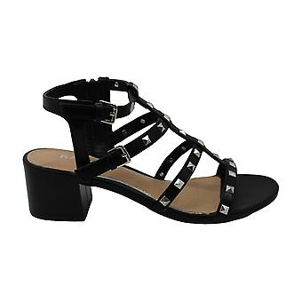Rampage Women's Milty Heeled Studded Dress Sandals with Studs 9 Black