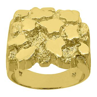 10k Yellow Gold Mens Nugget Textured Band Ring Measures 20x7mm Wide Size 10 Jewelry Gifts for Men