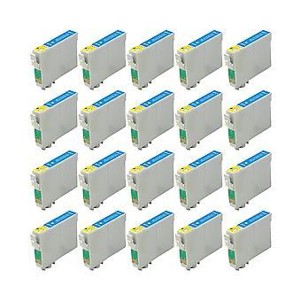 RudyTwos 20 x reemplazo para Epson Caballito tinta unidad cian Compatible con Stylus Photo R200, R220, R300, R300M, R320, R325, R330, R340, R350, RX300, RX320, RX500, RX600, RX620, RX640