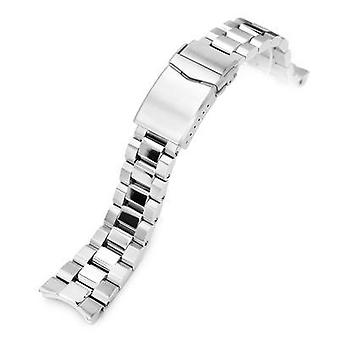 Strapcode watch bracelet 22mm hexad oyster 316l stainless steel watch bracelet for seiko samurai srpb51, brushed and polished v-clasp