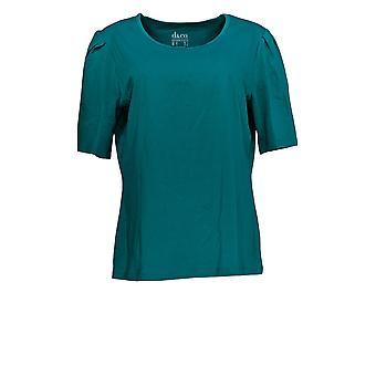 Denim & Co. Damen's Top Essentials Jersey Ellenbogen-Sleeve blau A366973