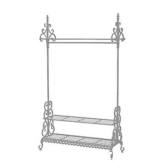Charles Bentley Wrought Iron Clothes Rail & Shoe Rack Distressed Vintage Antique Grigio