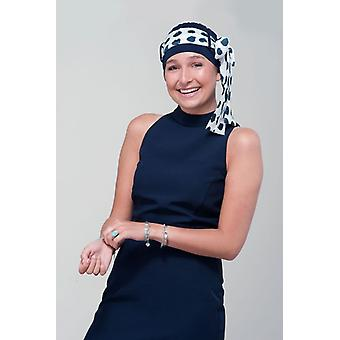 Headwear for teenage cancer patients - Yanna navy white polka dot