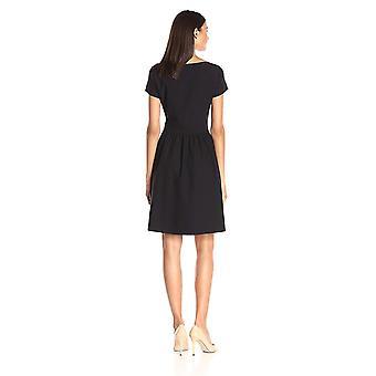 Marke - Lark & Ro Frauen's Kurzarm Quadrat Hals Kleid, schwarz, groß
