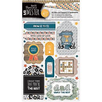 Papermania Mr. Mister A5 Die-cut Toppers/sentiments 2/pkg-