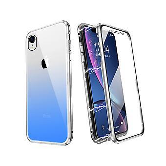 Dubbelzijdige mobiele behuizing voor iPhone XR, gehard glas - Zilver