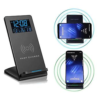 Loskii dc-01s elektrische led 12/24h wekker met telefoon draadloze oplader tafel digitale thermometer display desktop klok