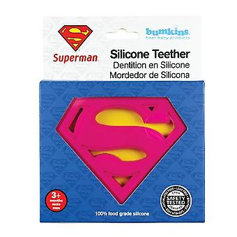Silicone Teether - Bumkins - DC Comics Superman Pink