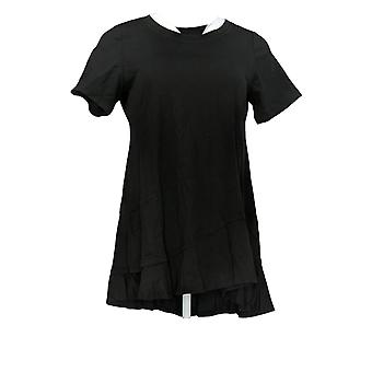 LOGO Door Lori Goldstein Women's Top Knit Top w/ Asymmetrische Hem Black A306613