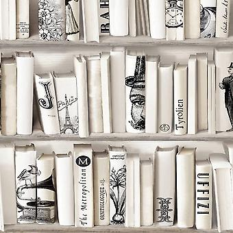 Encyclopédies Wallpaper Crème Muriva 572217