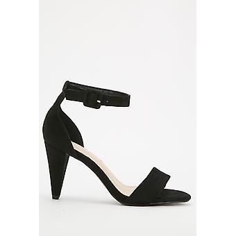 Open Toe Suedette Heeled Sandals