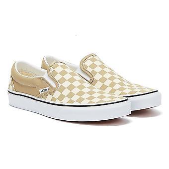 Vans Classic Slip-On Checkerboard Mens Beige / White Trainers