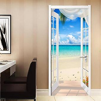 Fenêtre Sandy Beach Seascape - 3d Photo Pvc Self Adhésive Door Sticker /