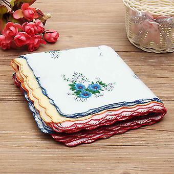 12pcs/lot Vintage Style Floral Flower Bird Handkerchief Lady Women Kids Cotton Hanky
