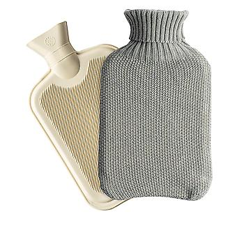 Nicola Spring Hot Water Bottle with Knitted Cover - Classic Short Ribbed Rubber Bottle with Screw Stopper - 2 Litres - Grey