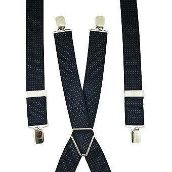 Krawatten Planet Marine blau & weiß Polka Dot Männer's Hosenträger - Silber Clips