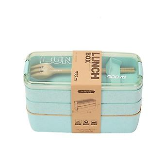 900ml Healthy Material Lunch 3 Layer Wheat Straw Bento Boxes, Microwave