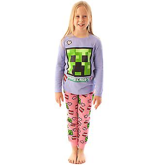 Minecraft Creeper Pyjamat tytöille | Lapset Glitter Pink & Purple Gaming Sleepwear Set | Lasten TNT, Hertta & Vihreä Creeper Face T-paita & Housut PJs