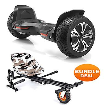 "8.5"" G2 PRO Monster Black All Terrain Bluetooth Segway Hoverboard with a Monster Kart in Camo"