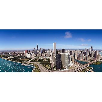 Aerial view of buildings in a city Lake Michigan Lake Shore Drive Chicago Illinois USA Poster Print