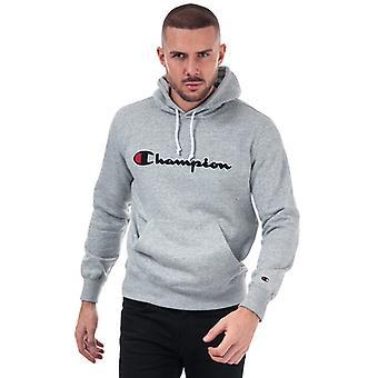 Men's Champion Large Logo Hoody in Grey