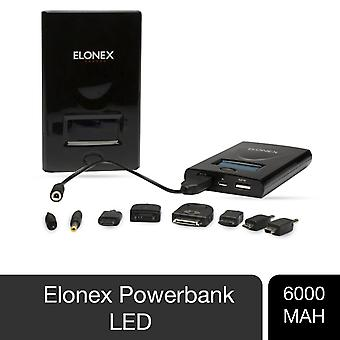 Portable ELONEX PowerBank 6000mAh with Smart LED Display for Mobile Phone, Black