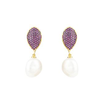 Hot Pink Natural Classic White Baroque Pearl CZ Gemstone Rose Gold Drop Earrings