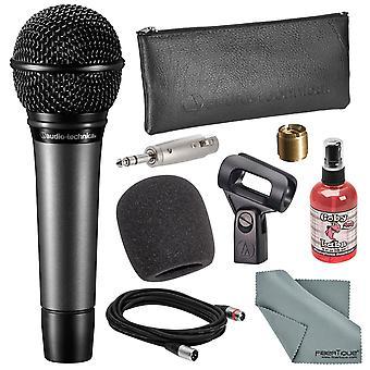 Audio-technica atm410 cardioid handhållna sång mikrofon bunt med vindruta + mic sanitizer + adapter + xlr kabel + fibertique trasa