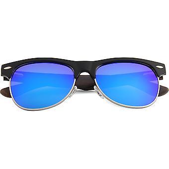 Real Ebony Zebrawood Browline Style Retroshade Sunglasses