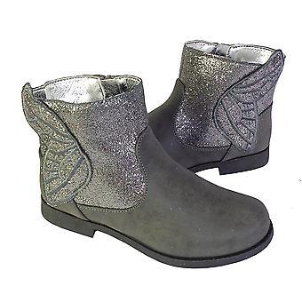 Jenter sparkly grå og sparkly sølv ankelstøvletter