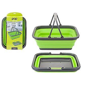 Summit Pop! Folding bærekurv med håndtak Camping piknik lagring bærbar - lime / grå