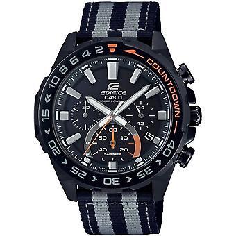 Casio Efs-s550bl-1avuef Edifice Schwarz & Grau Stoff Solar powered Chronograph Herren's Uhr