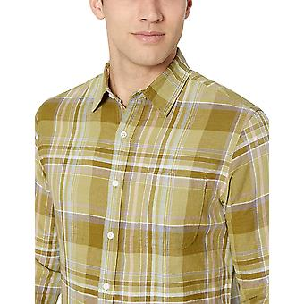 Essentials Men's Slim-Fit Long-Sleeve Linen Cotton Shirt