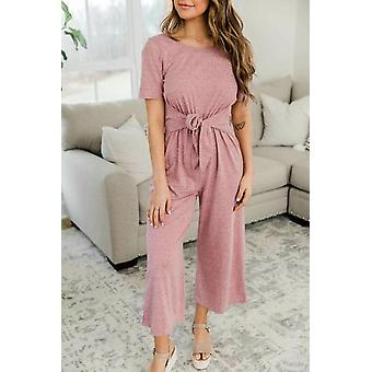 Summer Women Solid Color Drawstring Long Jumpsuit