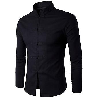 Men Tradition Style Shirt, Mans Solid Color, Mandarin Collar, Long Sleeve,