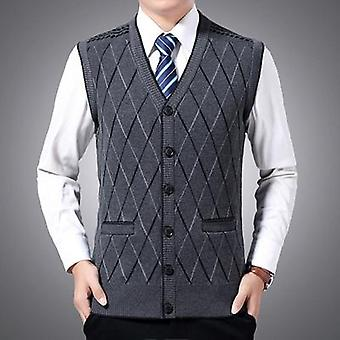 Winter Men's Sleeveless Vests, Warm Jumper Knitted Waistcoats, Casual Slim Fit