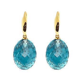 Gemshine Ohrringe 3-D blaue Topas Edelsteine in 925 Silber, vergoldet oder rose