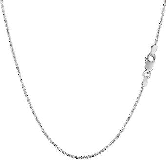 14k White Gold Sparkle Chain Necklace, 0.9mm